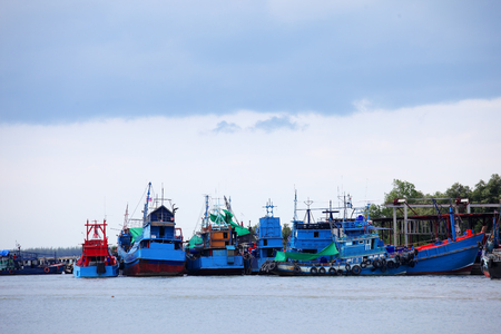 pattani thailand: tradition fishery boat at pattani bay,THAILAND.
