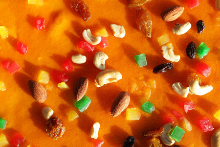 topping: colorful ingredient topping on cake