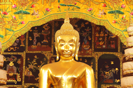 golden buddha statue with tradition chinese painting Stock Photo
