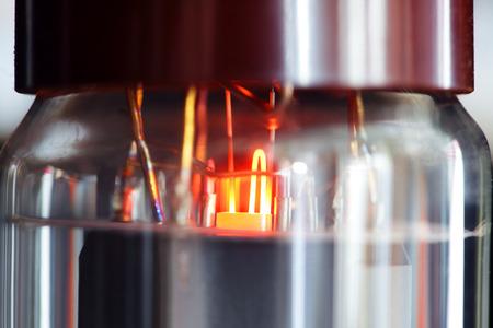 close up of electronic vacuum tube