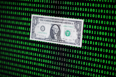 us dollar banknote among binary code background,crypto currency concept. Stock Photo