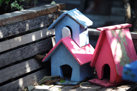 small colorful wooden bird house Stockfoto