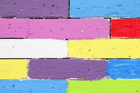 close up of colorful wooden lath wallpaper background