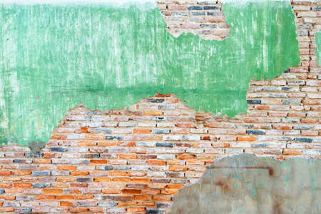 Full Frame shot of Old Crack Red Brick Wall Background Texture Stock Photo