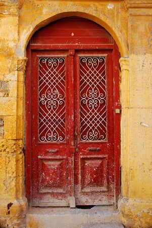 Old door in Old Town in Rhodes, Greece photo