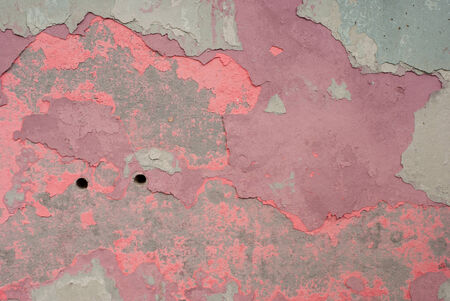 abandonment: Peeling paint on old colorful wall background Stock Photo