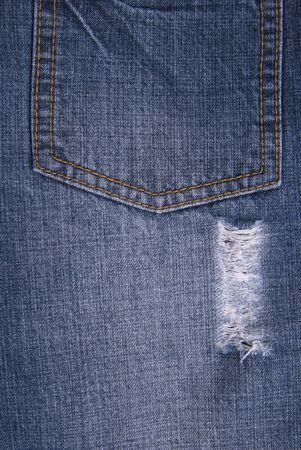 jeans pocket: Closeup of blue jeans pocket