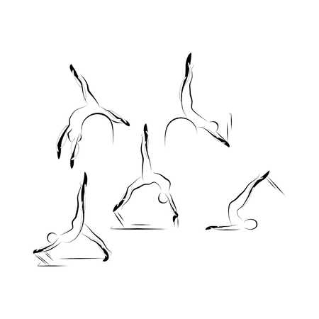 Set of abstract pilates poses vector illustration.