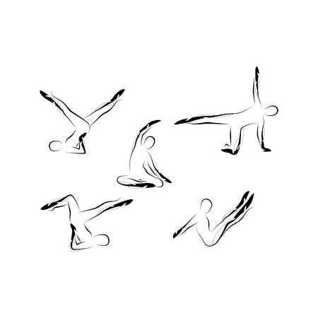 抽象的なピラティスのポーズのセット  イラスト・ベクター素材