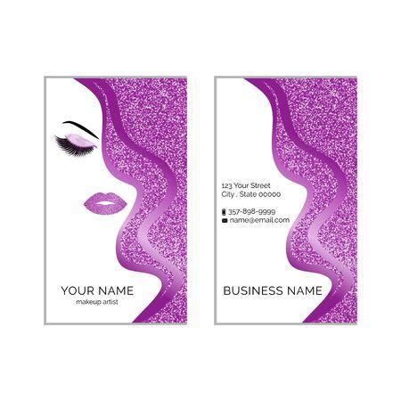 Makeup artist business card template. 向量圖像