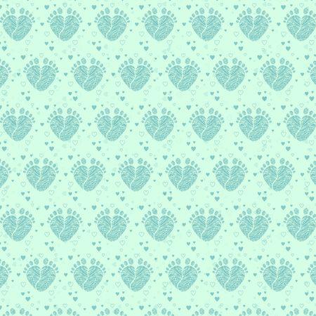 Baby feet background vector illustration.