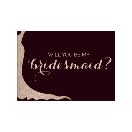 Bridesmaid invitation card with glittery dress