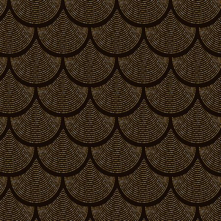 Gold fish scale vector pattern background with glitter effect