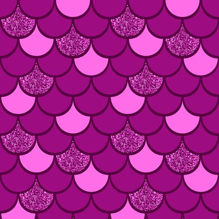 Burgundy  fish scale vector pattern background with glitter effect