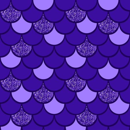 Purple  fish scale vector pattern background with glitter effect