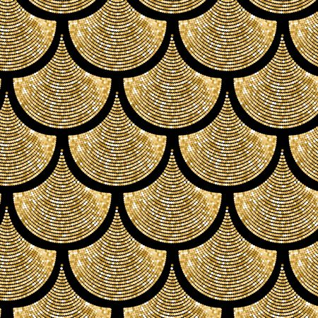 Fondo de patrón de vector de escala de pez dorado con efecto brillo