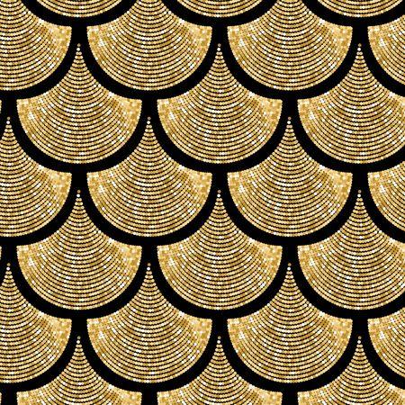 Gouden vis schaal vector patroon achtergrond met glitter effect