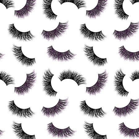 Lashes vector pattern with pink glitter effect Illustration