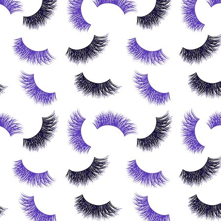 Lashes vector pattern with purple glitter effect Illustration