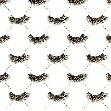 Lashes vector pattern with gold glitter effect  イラスト・ベクター素材