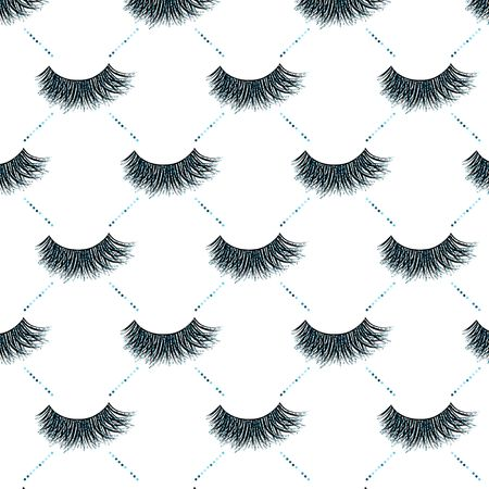 Lashes vector pattern with blue glitter effect