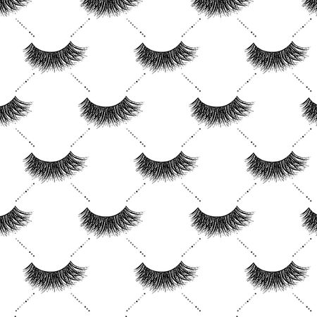 Lashes vector pattern with silver glitter effect