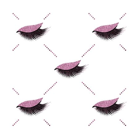 Lashes vector pattern with burgundy glitter effect