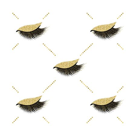 Lashes vector pattern with gold glitter effect Illustration