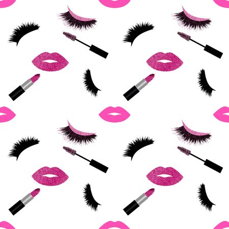 Lashes, lipstick and mascara with glitter vector pattern Illustration