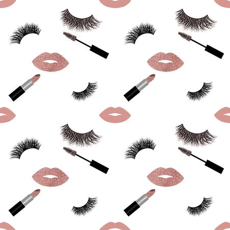 Lashes and mascara with glitter vector pattern