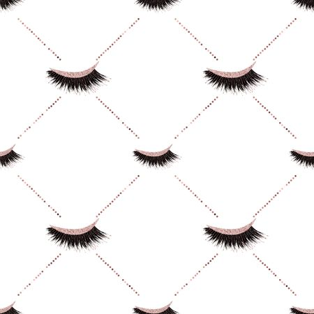 Lashes vector pattern with glitter effect Illustration