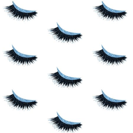 Lashes vector pattern with glitter effect  イラスト・ベクター素材