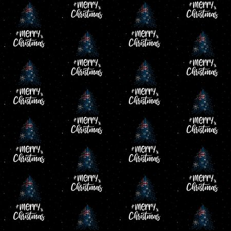 Merry Christmas and Christmas tree with Australian flag seamless vector pattern