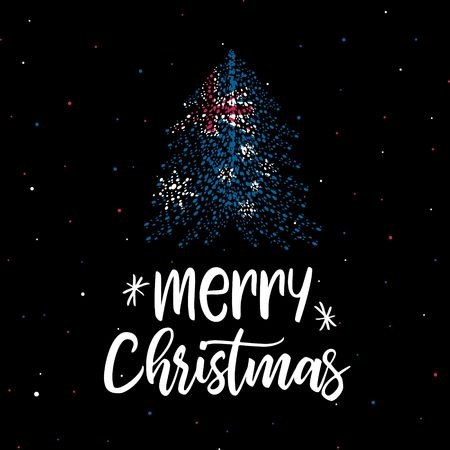 Merry Christmas and Christmas tree with Australian flag