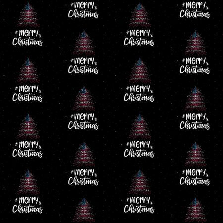 Merry Christmas and  Christmas tree with American flag seamless vector pattern