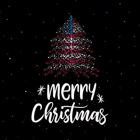 Merry Christmas and  Christmas tree with American flag