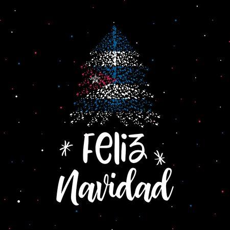 Merry Christmas and Christmas tree with Cuban flag