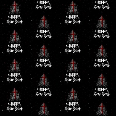 Happy New Year and Christmas tree with England flag seamless vector pattern 写真素材 - 111347332