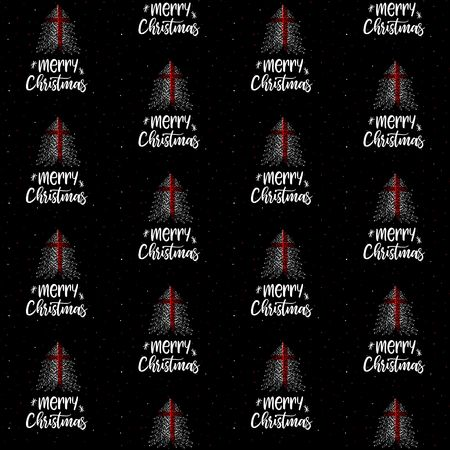 Merry Christmas and Christmas tree with England flag seamless vector pattern
