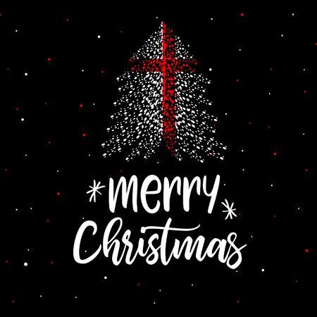 Merry Christmas and Christmas tree with England flag Illustration