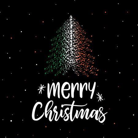 Merry Christmas and Christmas tree with Irish flag Illustration