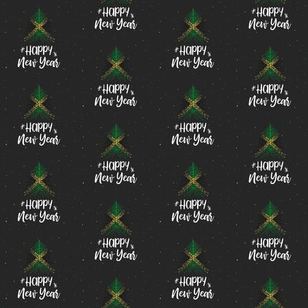 Happy New Year and Christmas tree with Jamaica flag seamless vector pattern