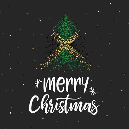 Merry Christmas and Christmas tree with Jamaica flag