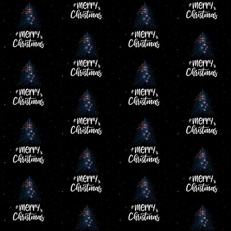 Merry Christmas and Christmas tree with New Zealand flag seamless vector pattern