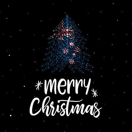 Merry Christmas and Christmas tree with New Zealand flag