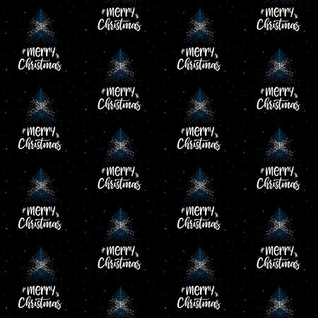 Merry Christmas and Christmas tree with Scottish flag seamless vector pattern Illustration