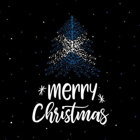 Merry Christmas and Christmas tree with Scottish flag