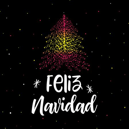 Merry Christmas and Christmas tree with Spanish flag  イラスト・ベクター素材