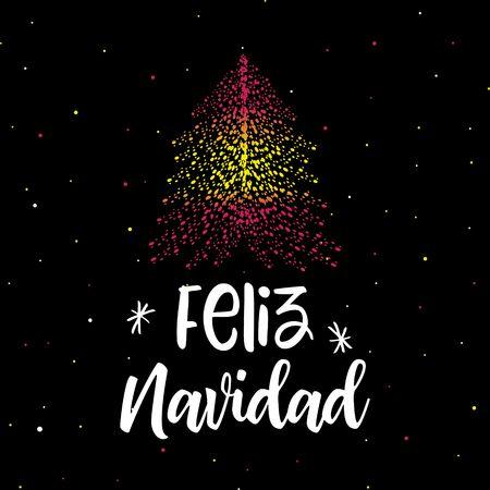 Merry Christmas and Christmas tree with Spanish flag Illustration