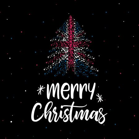 Merry Christmas and Christmas tree with UK flag Ilustração